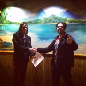 """Steve Kille (Dead Meadow) and Kirpatrick just returned from Hawaii were we just signed another contract with Kille's XEMU RECORDS! Expect our 2008 album """"The West"""" to be re-released on VINYL sometime Spring/Summer 2015! As part of a celebration we'll be jammin at Escondite in downtown LA tonight from 11pm-1am. Anyone is welcome!"""