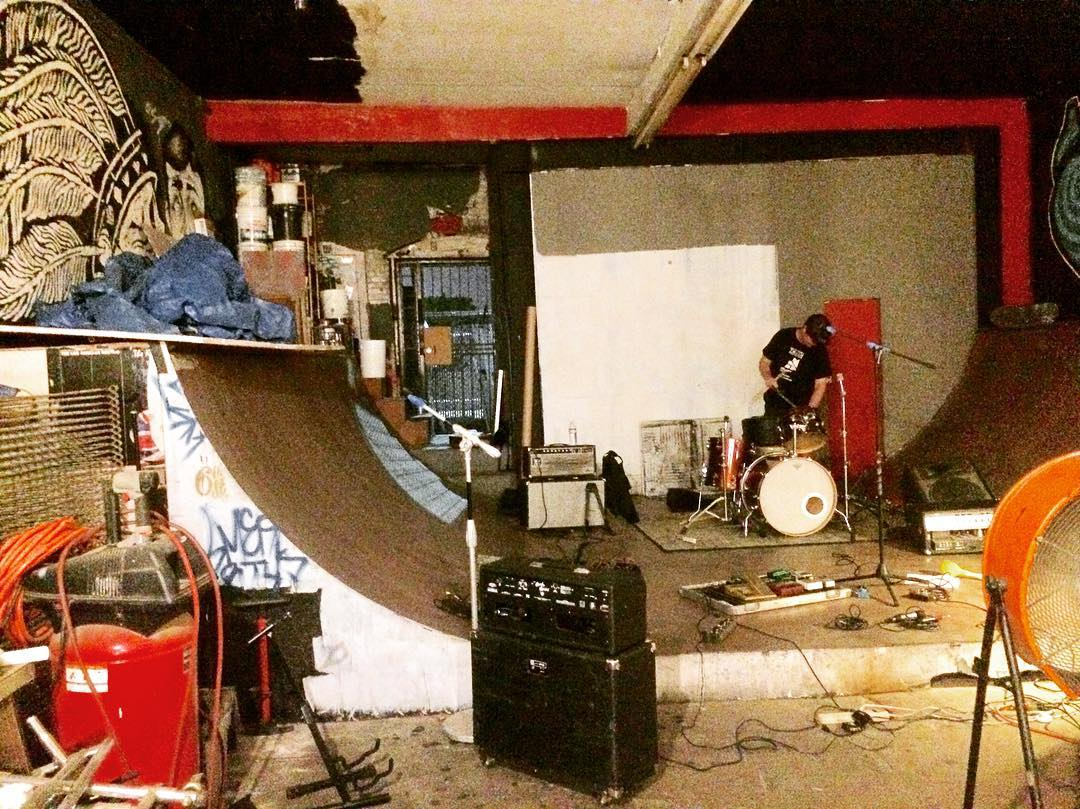 "Ok, so ""ahem"" this is the full size skate ramp we jam on at the warehouse we've called home since  2004. It'd b interesting to see it put to use while we jam. Takers? @thrashermag #downtownla @viceland #spindrift #rehearsal"