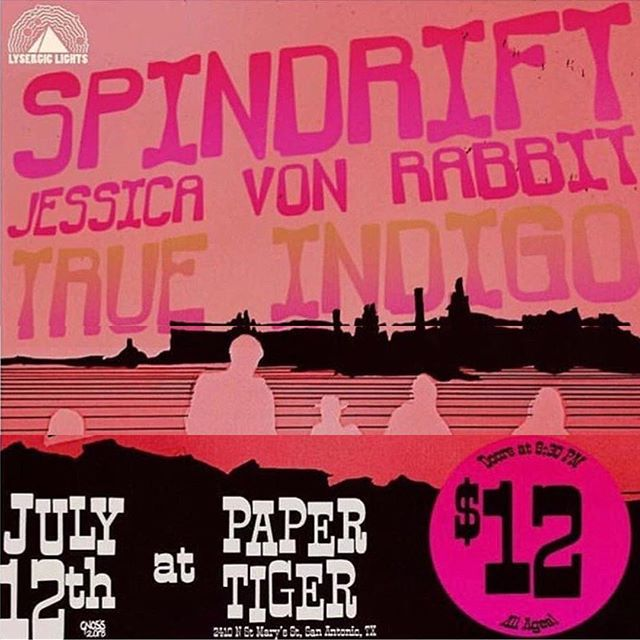 First time playing in San Antonio tonight!  Doors 8:30.  SPINDRIFT at 11:25p, @jesikavonrabbit 10:30.