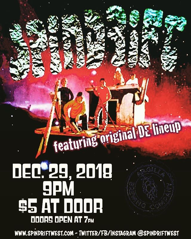 12.29.18 #spindriftreunion  poster: @corygladfelter @argillabrewingco #newarkde #pikecreek #spindrift @spindriftwest @billdegnan @dennismoodymusic #spaceisbetweentheyears #Bollywood out now! @divinedroidrecords