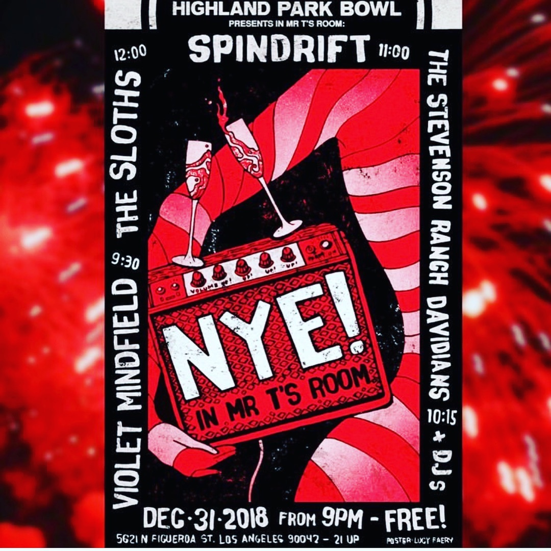 Killer time at the holiday reunion last night! Thx @argillabrewingco Now East back to West #nye Hello '2019 FREE @highlandparkbowl #mrts @spindriftwest 11pm! w/ @stevensonranchdavidians @thesloths65 @_thevioletmindfield #spindrift 2019 #highlandpark @rebeccaddavidson @trashbaghashtag @jz323 @teepeerecords @xemu_records_official @alternativetentacles @vice @thrashermag