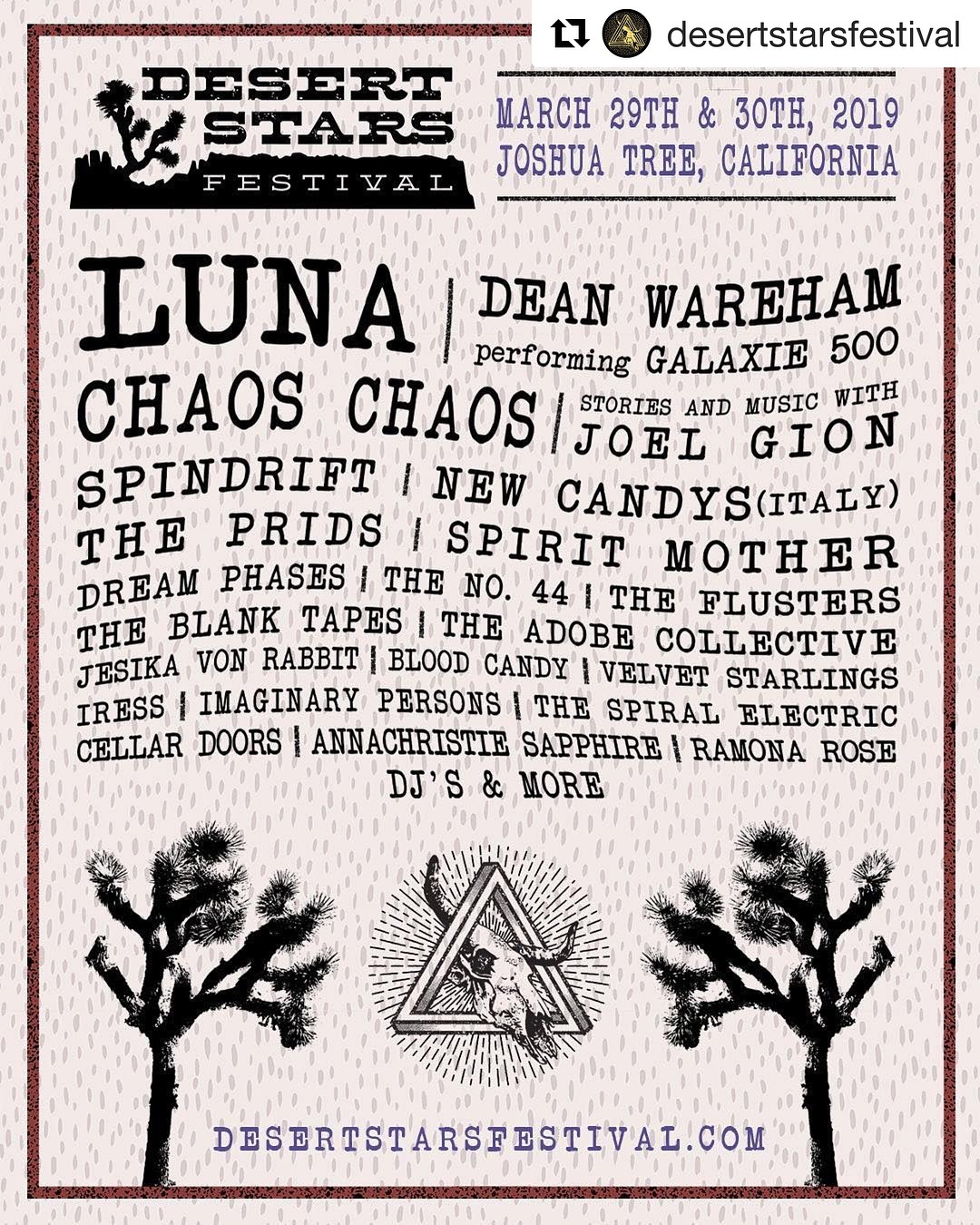 03/29&30 this time held more directly near Joshua Tree DT area @spindriftwest #spindrift @desertstarsfestival @jesikavonrabbit @newcandys @joelgion @teepeerecords @theblanktapes @dreamphases @thespiralelectric #spindrift @thecellardoorsmusic @theflusters @divinedroidrecords @alternativetentacles @xemu_records_official