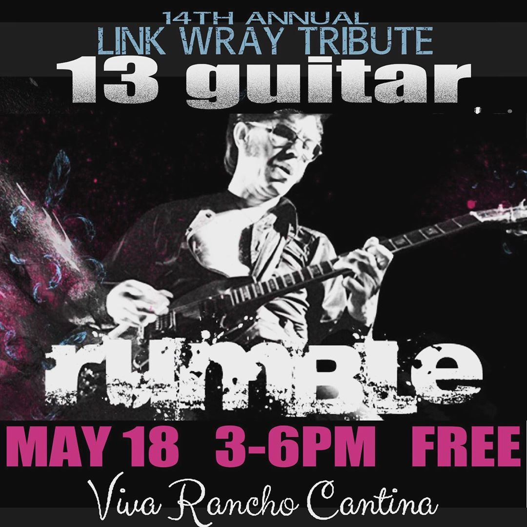 "THIS SAT MAY 18 3-6pm FREE @link_wray  #tribute #13guitarrumble aka 13 guitars play ""RUMBLE""! (and then some) including yours truly @spindriftwest  #spindrift #kirpatrickthomas @rebeccaddavidson AT @vivaranchocantina #burbank #rumble #burbankequestriancenter #linkwray"